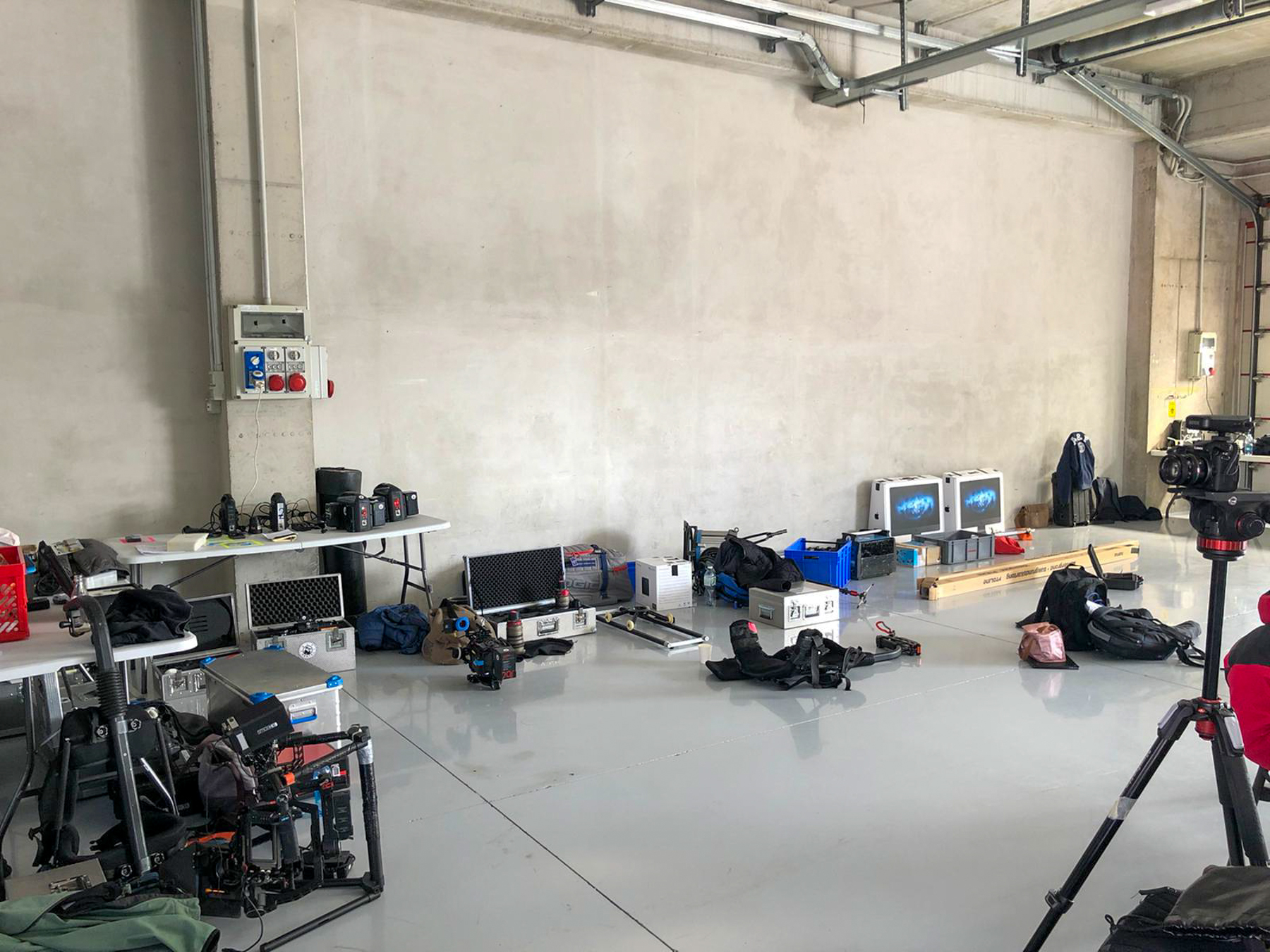 Our garage with the equipment - Alpha Tauri F1 Shakedown 2021
