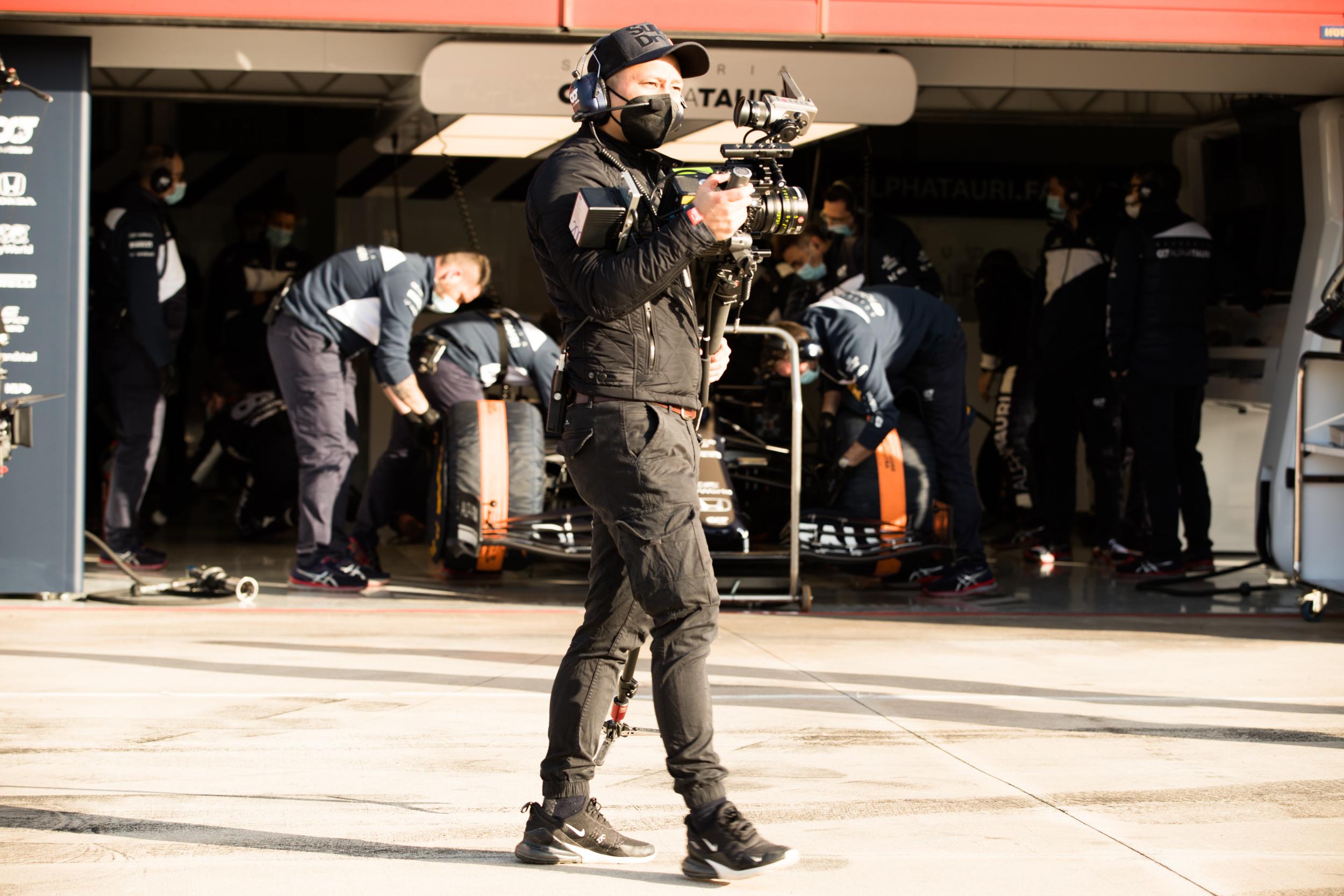 Phuong Herzer walks the Pit-Lane with his Arri Alexa Alpha Tauri F1 Shakedown 2021