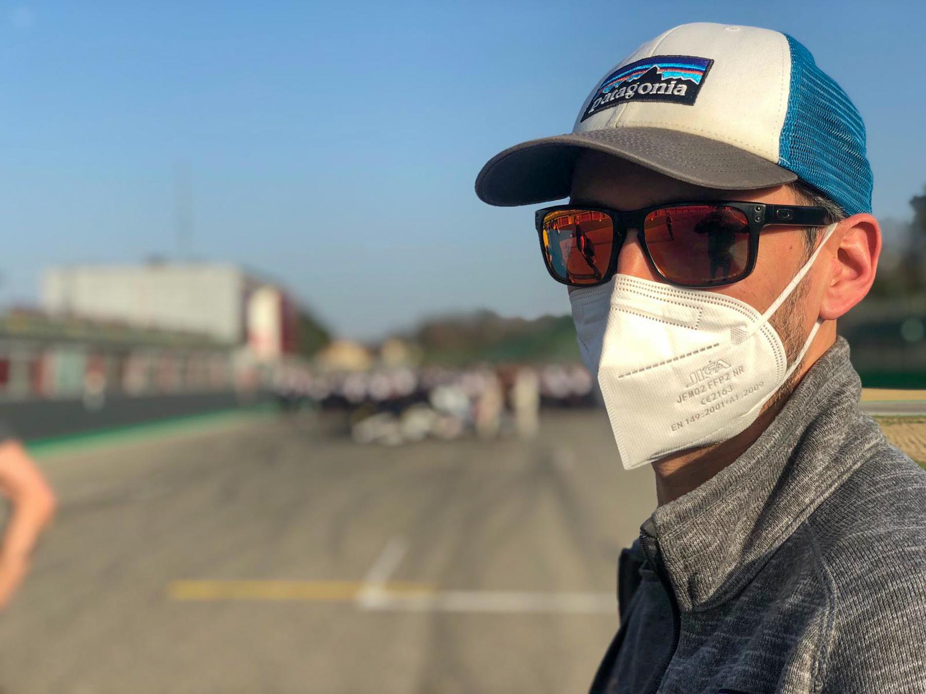 Dave working under Covid-19 Regulations - Alpha Tauri F1 Shakedown 2021